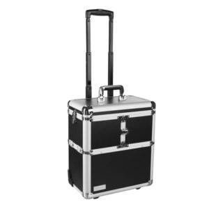 Kufer fryzjerski aluminiowy, czarny, na kółkach